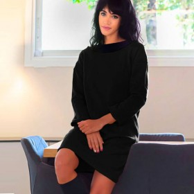 Senovie 100% cotton black dress